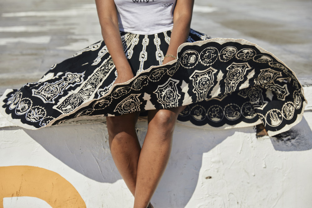 Black and white embroidered skirt // A Week Of Outfits With Dominique Drakeford, Founder Of Melanin & Sustainable Style on The Good Trade