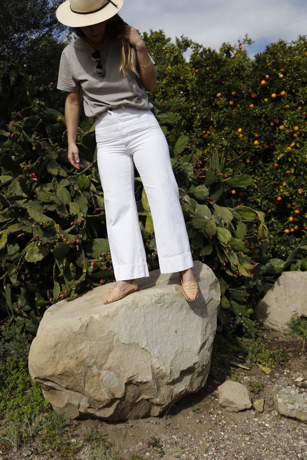 Wide leg pants and men's t-shirt for a casual look // A Week Of Tried-And-True Wardrobe Staples With Zoe Cleary, Founder Of Nisolo on The Good Trade