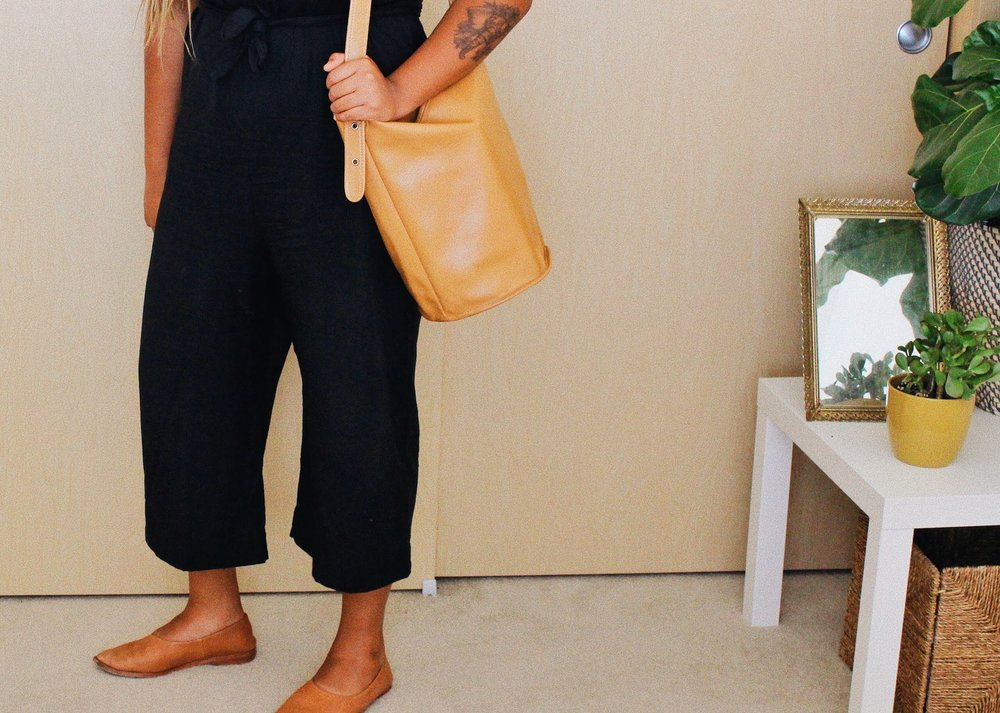 Minimalist black jumpsuit // A Week Of Boho Minimalist Outfits With Deborah Shepherd From Clothed In Abundance on The Good Trade