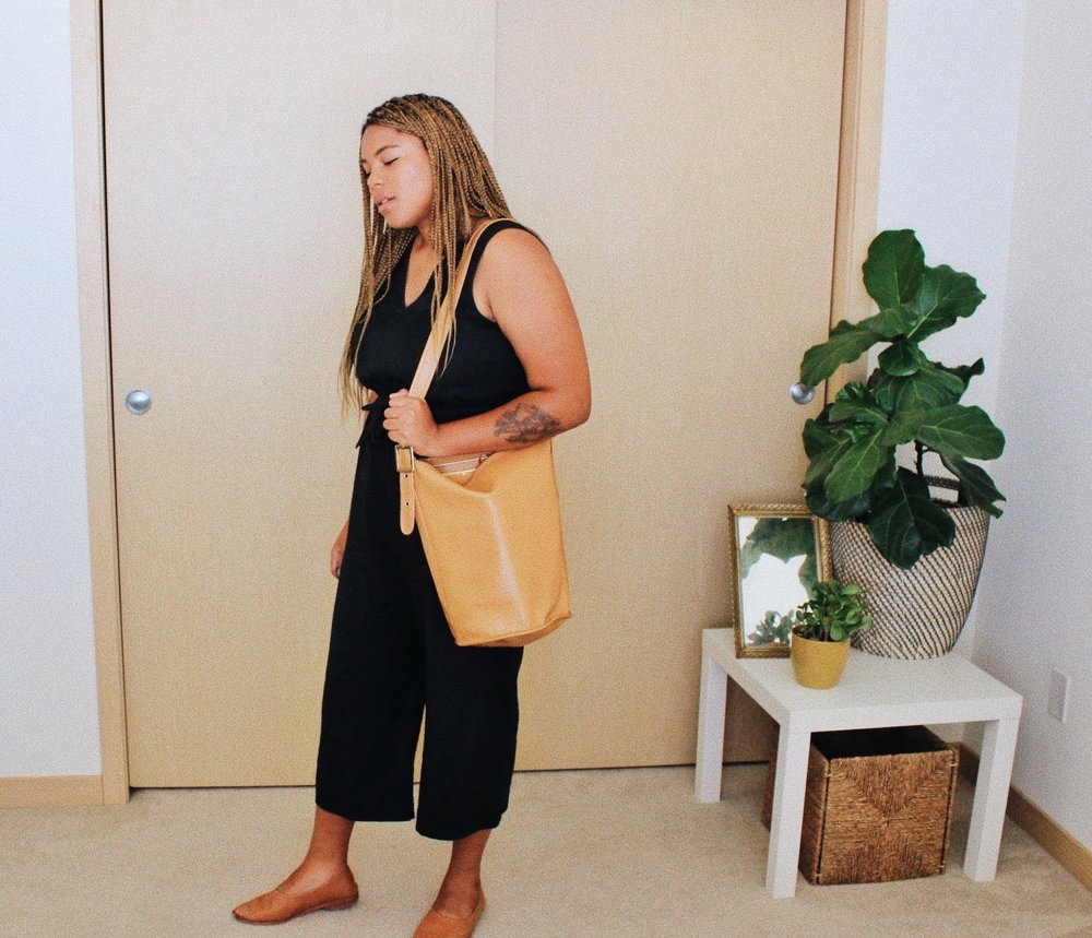 Minimalist black jumpsuit outfit // A Week Of Boho Minimalist Outfits With Deborah Shepherd From Clothed In Abundance on The Good Trade