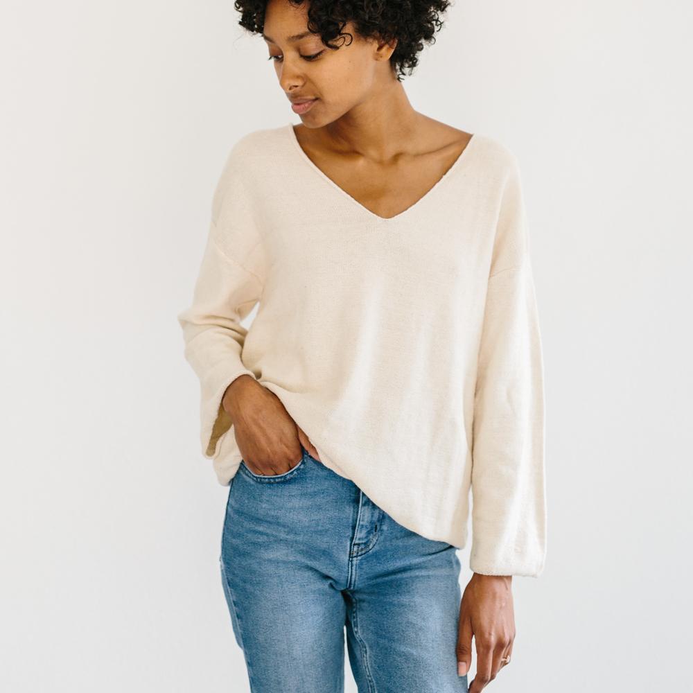Hemless V-Neck Sweater from Slumlove Sweater Company