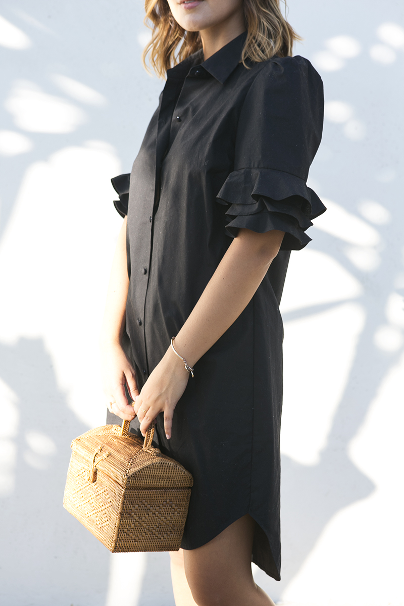 Ruffle sleeve details on a black shirtdress // A Week Of Intentional & Sustainable Outfits With Kasha Cabato From Green With Style on The Good Trade