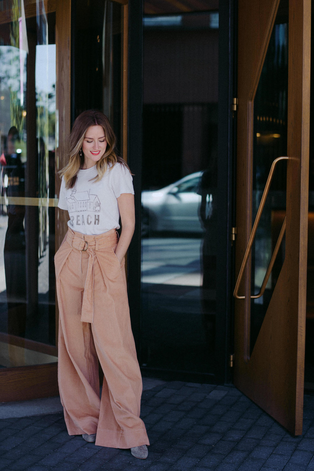 Wide leg corduroy pants with a tee // A Week Of  Nashville-Chic Ethical Outfits With Jordan Soderholm, Fashion Director At ABLE on The Good Trade