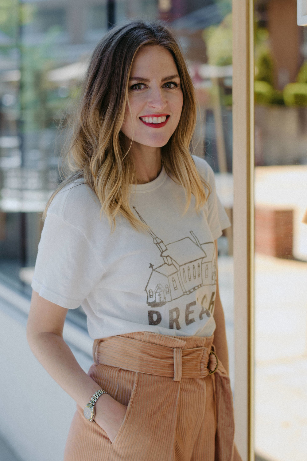 Dramatic pants with a casual tee // A Week Of  Nashville-Chic Ethical Outfits With Jordan Soderholm, Fashion Director At ABLE on The Good Trade