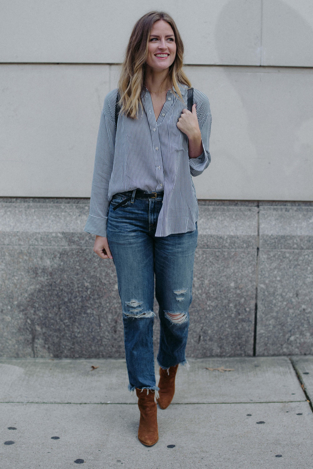 Distressed denim and a button down  // A Week Of  Nashville-Chic Ethical Outfits With Jordan Soderholm, Fashion Director At ABLE on The Good Trade