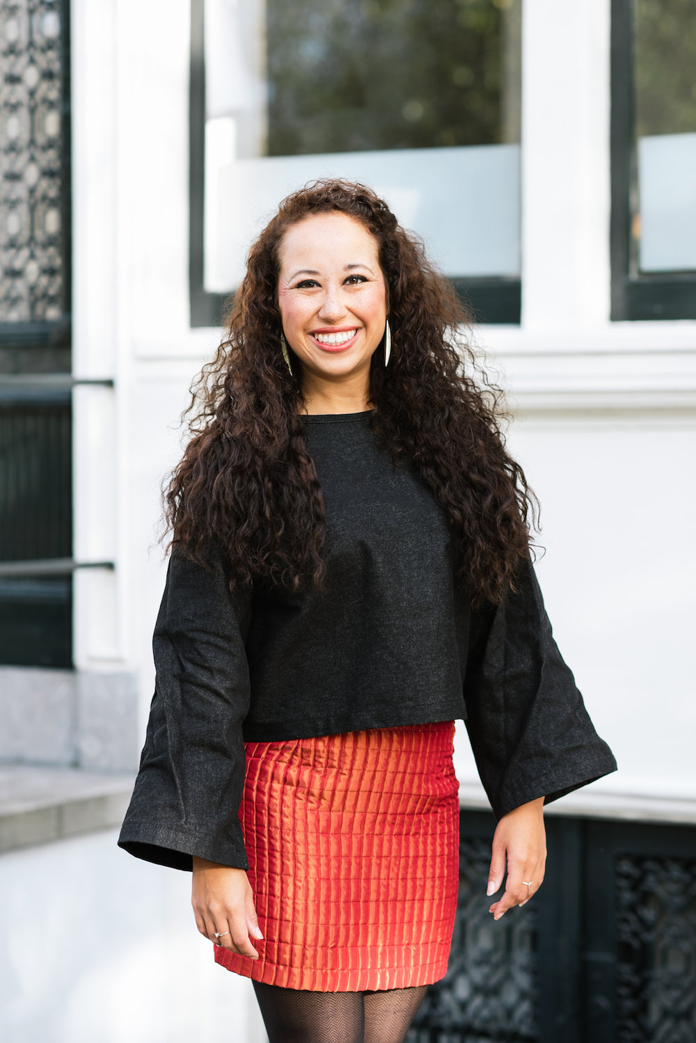 Flare sleeve top with red skirt // A Week Of Modern & Cozy Fall Outfits With Lifestyle Blogger & Life Coach Hailey Noa on The Good Trade