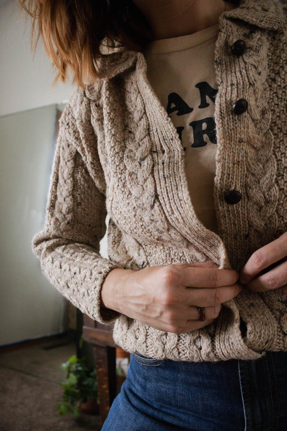 Mama bird shirt and cable knit sweater - A Week Of Easy & Sophisticated Outfits With Karin Rambo From Truncation on The Good Trade