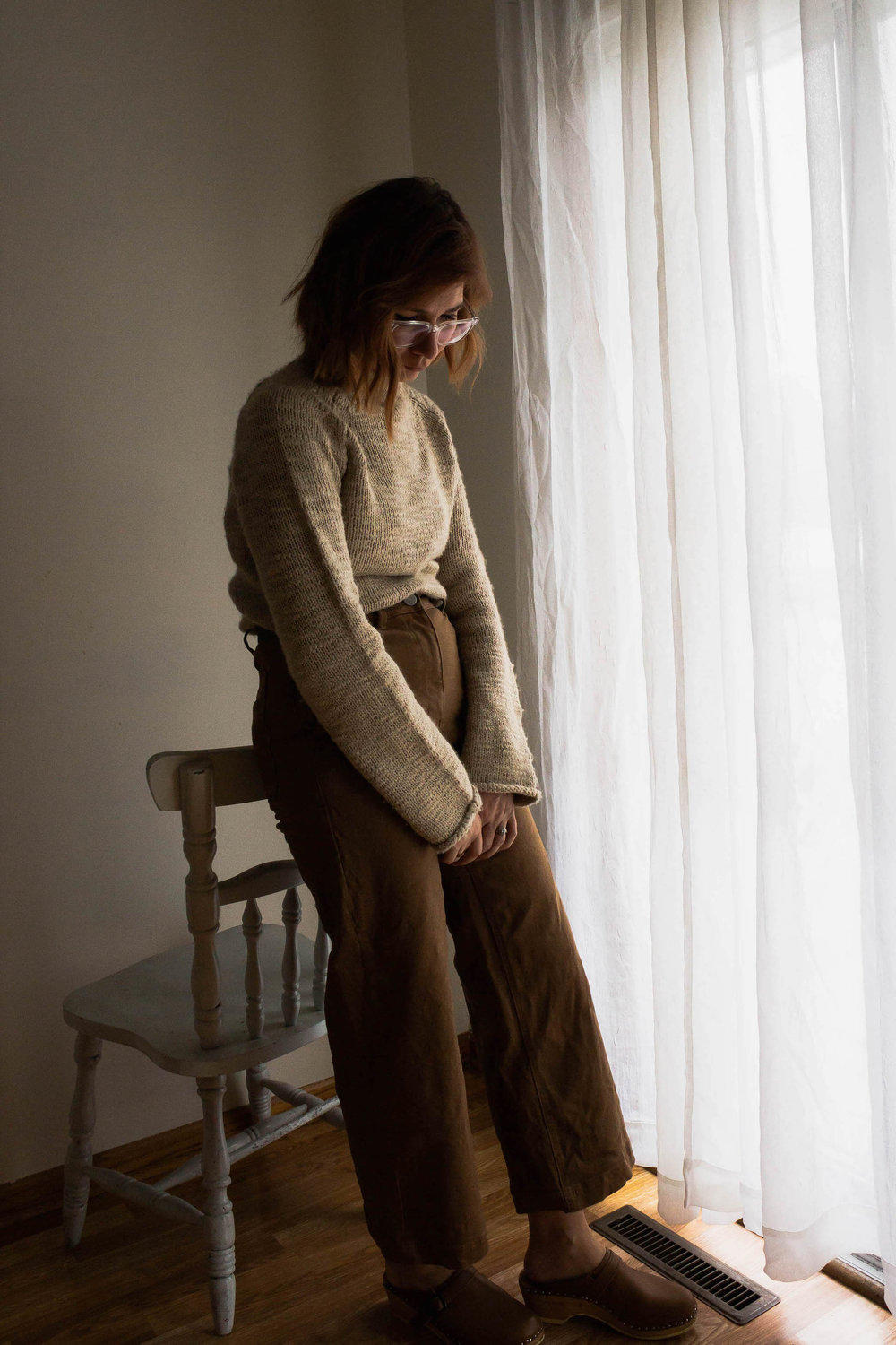 Vintage sweater and wide leg pants - A Week Of Easy & Sophisticated Outfits With Karin Rambo From Truncation on The Good Trade