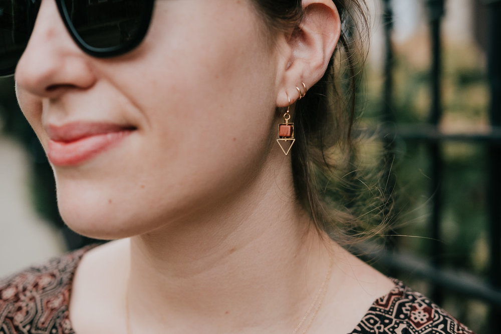 Larissa Loden geometric earrings - A Week Of Ethical Outfits With Heart With Carly Gerber From Hippie + Heart on The Good Trade