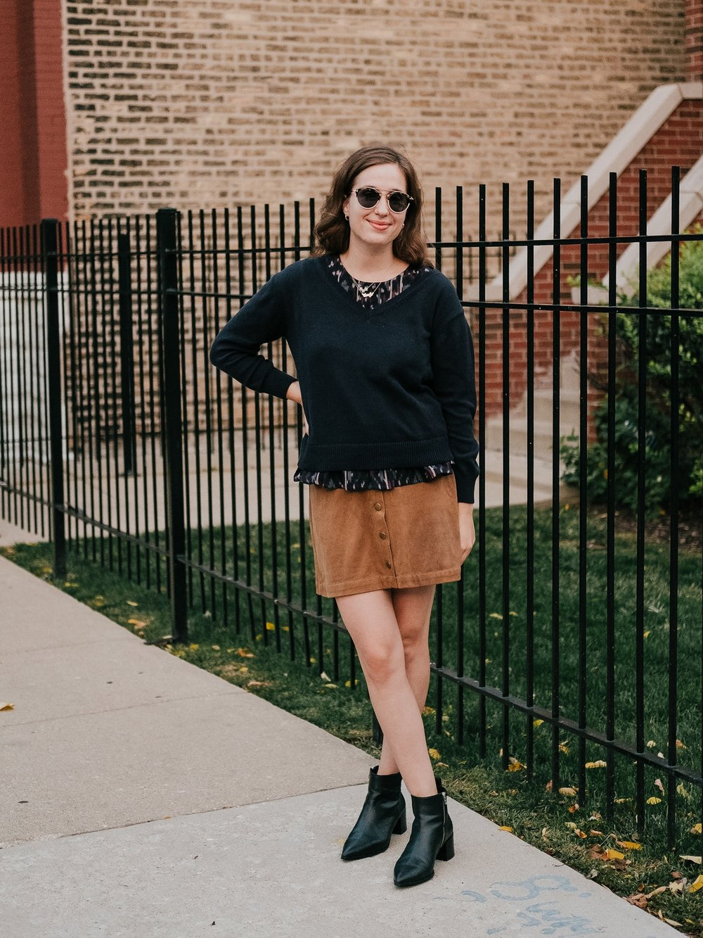 Layered outfit with a skirt for fall - A Week Of Ethical Outfits With Heart With Carly Gerber From Hippie + Heart on The Good Trade