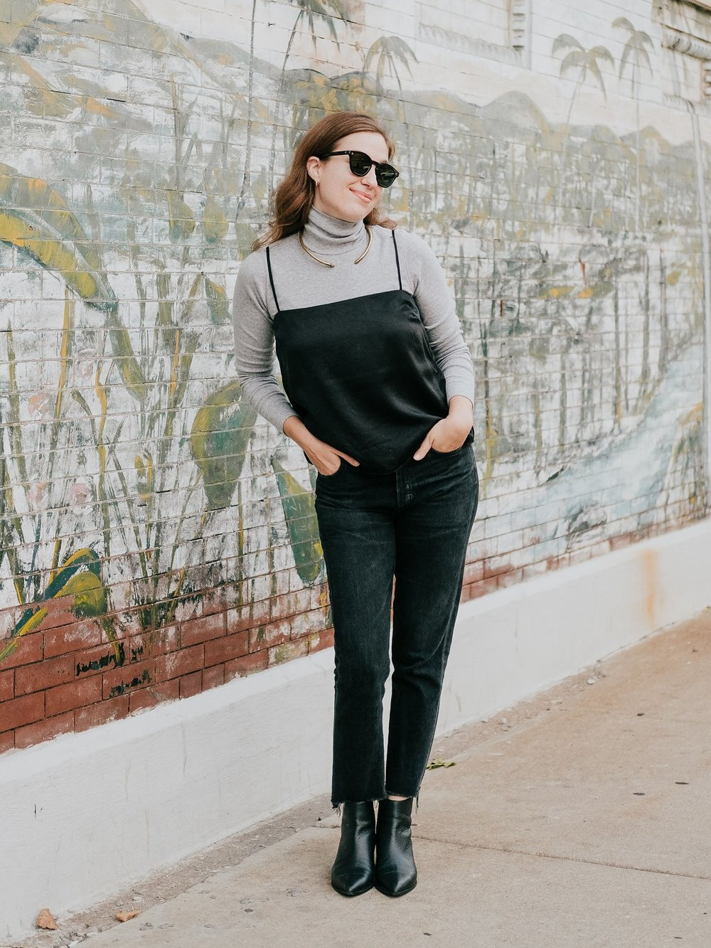 Silk tank and turtleneck layering - A Week Of Ethical Outfits With Heart With Carly Gerber From Hippie + Heart on The Good Trade