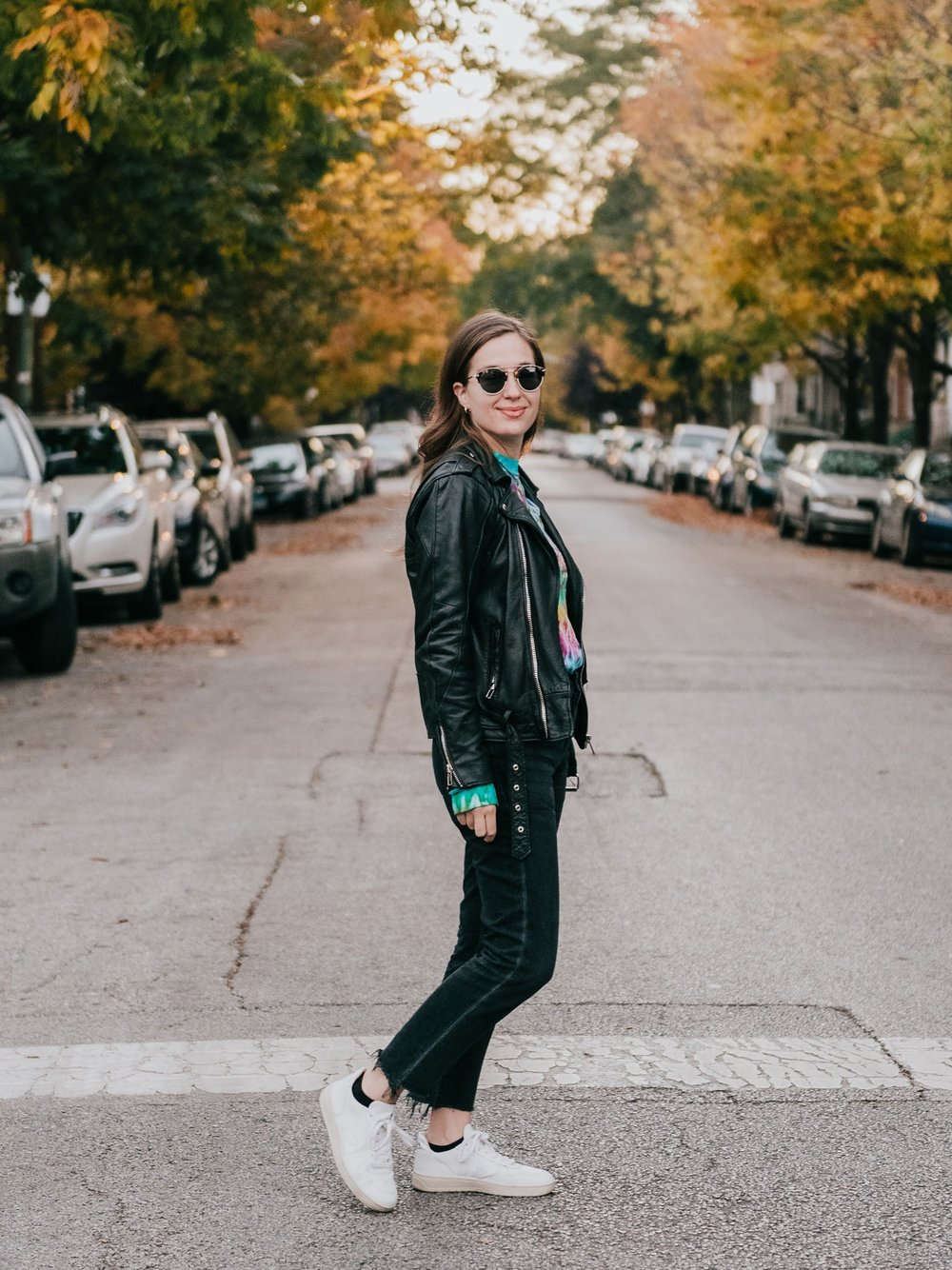 Casual Saturday outfit with leather jacket - A Week Of Ethical Outfits With Heart With Carly Gerber From Hippie + Heart on The Good Trade