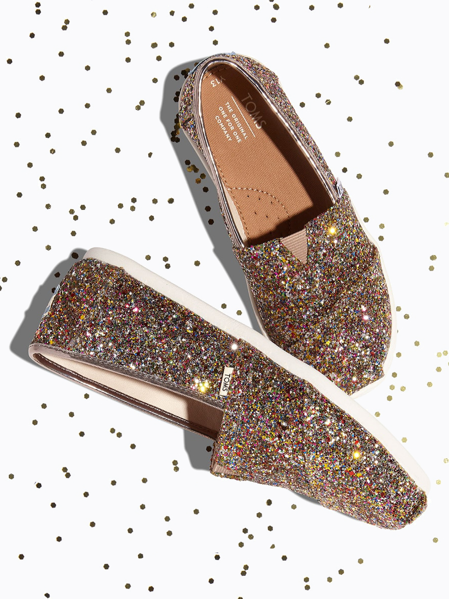 Multi Party Glitter Classic Shoes from TOMS - Sparkling Sustainable Fashion Statement Pieces on The Good Trade