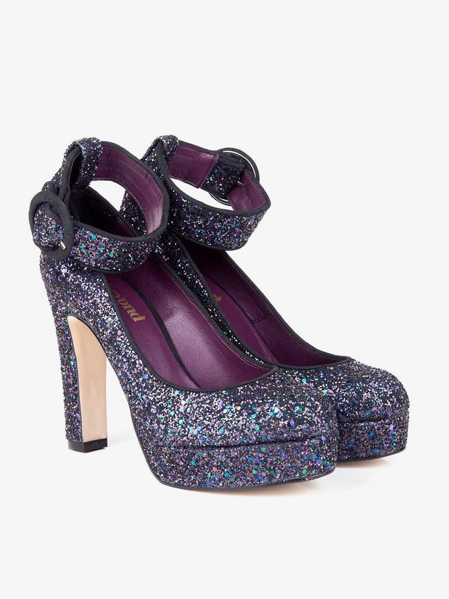 Belle B Peacock Glitter Vegan Platform Heels from Beyond Skin - Sparkling Sustainable Fashion Statement Pieces on The Good Trade