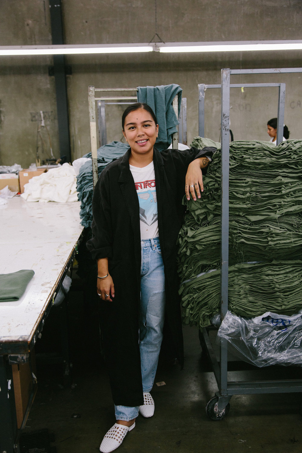 Black Tencel robe over vintage denim - A Week Of Super-Chill Conscious Fashion With Isadora Alvarez, Founder Of Back Beat Rags on The Good Trade