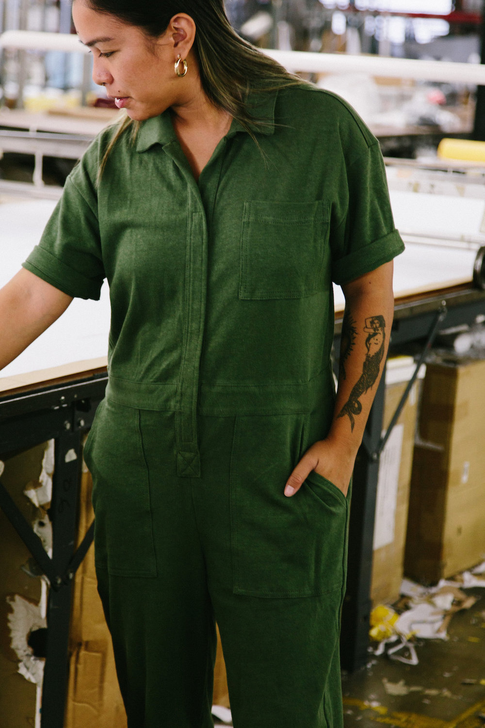 Olive Hemp jumpsuit - A Week Of Super-Chill Conscious Fashion With Isadora Alvarez, Founder Of Back Beat Rags on The Good Trade