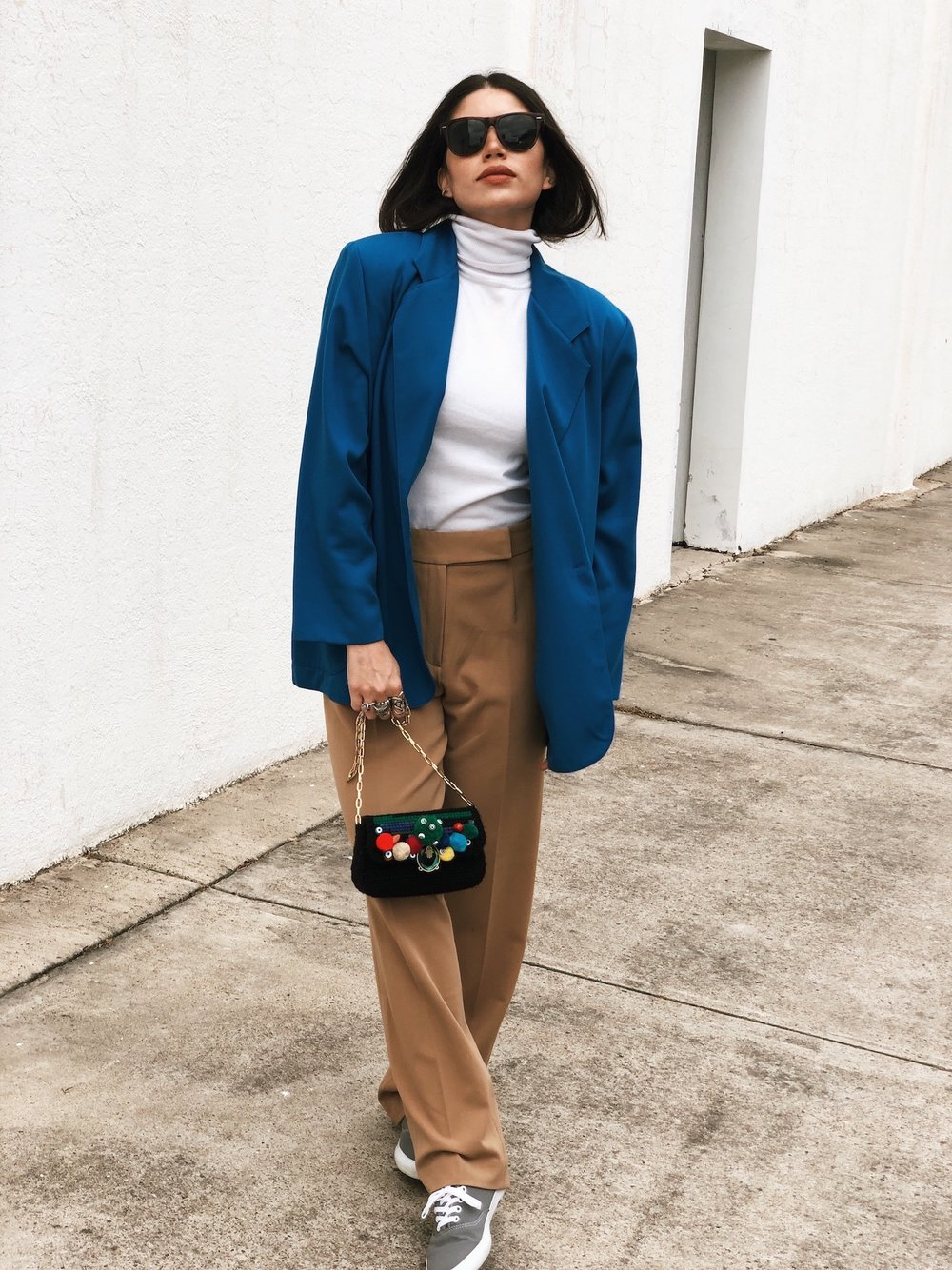 Vintage blue blazer with turtleneck - A Week Of Cruelty-Free Outfits & Vegan Beauty With Jessica Salazar From All There August on The Good Trade