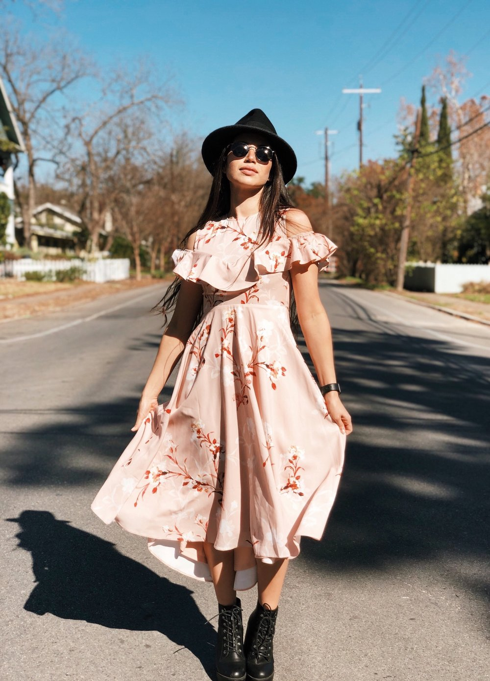 Pink dress with combat boots - A Week Of Cruelty-Free Outfits & Vegan Beauty With Jessica Salazar From All There August on The Good Trade