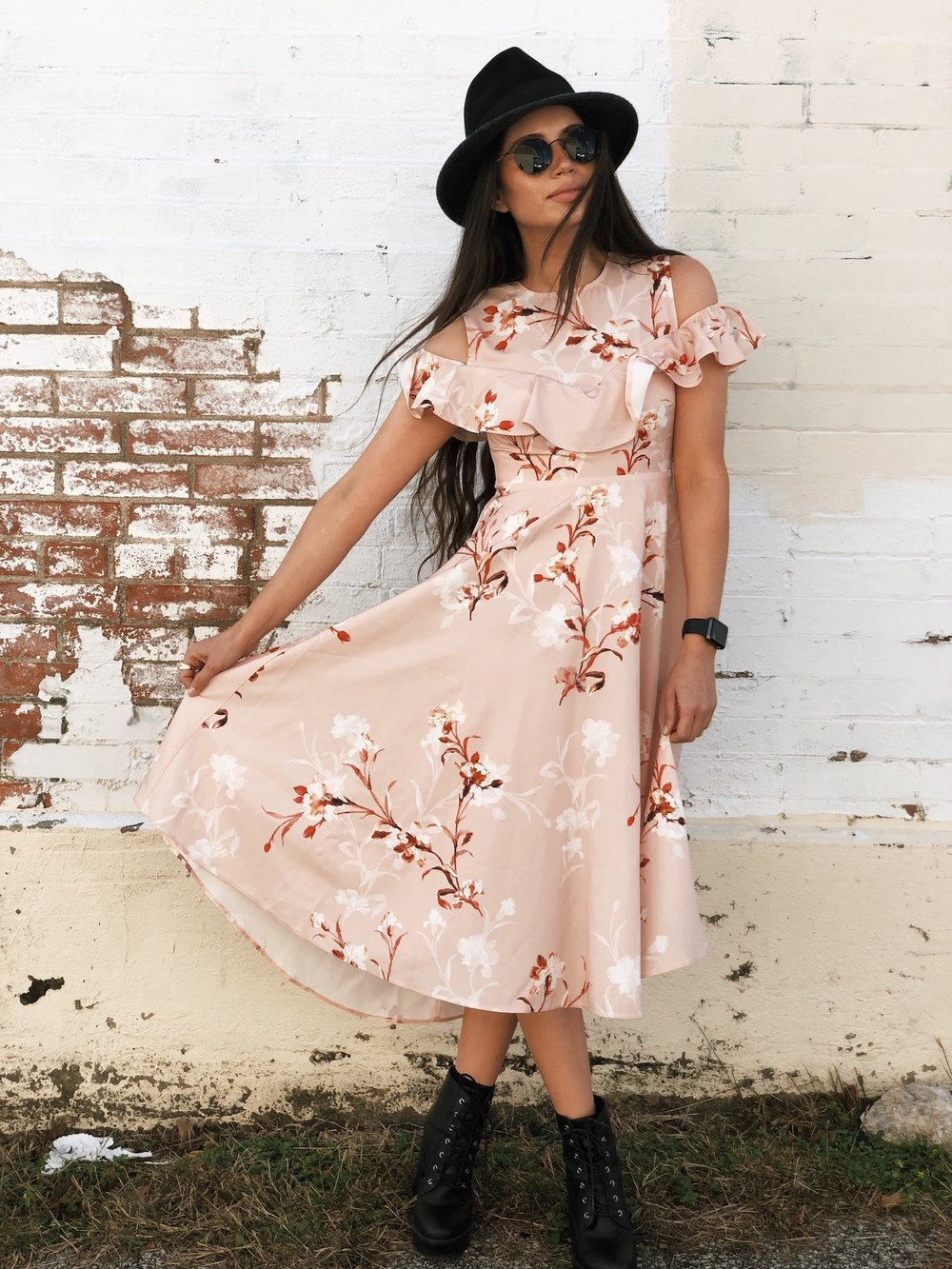 Floral dress with black boots - A Week Of Cruelty-Free Outfits & Vegan Beauty With Jessica Salazar From All There August on The Good Trade