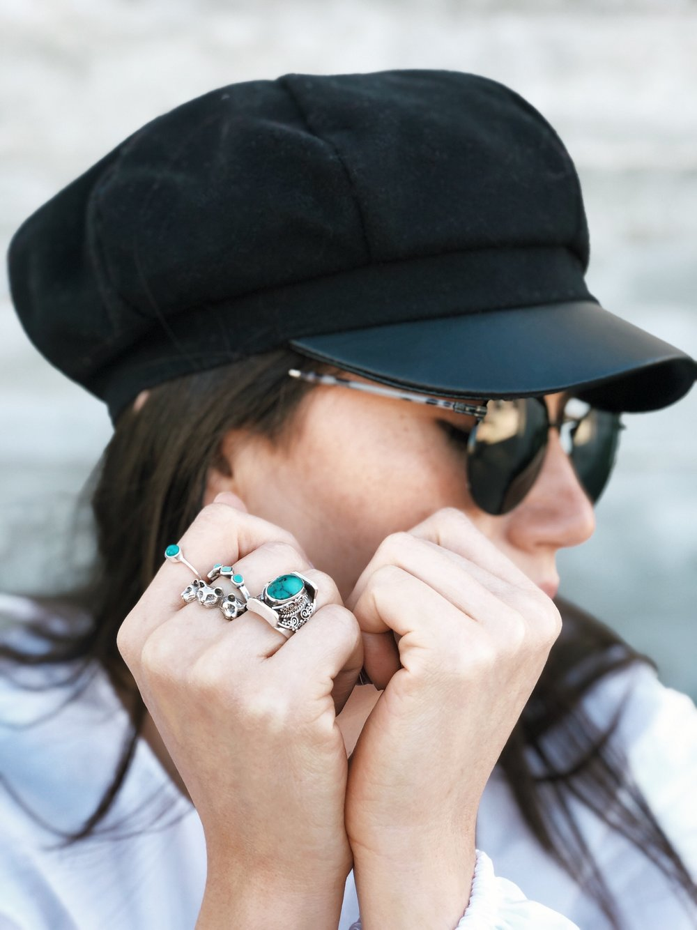 Turquoise ring detail - A Week Of Cruelty-Free Outfits & Vegan Beauty With Jessica Salazar From All There August on The Good Trade