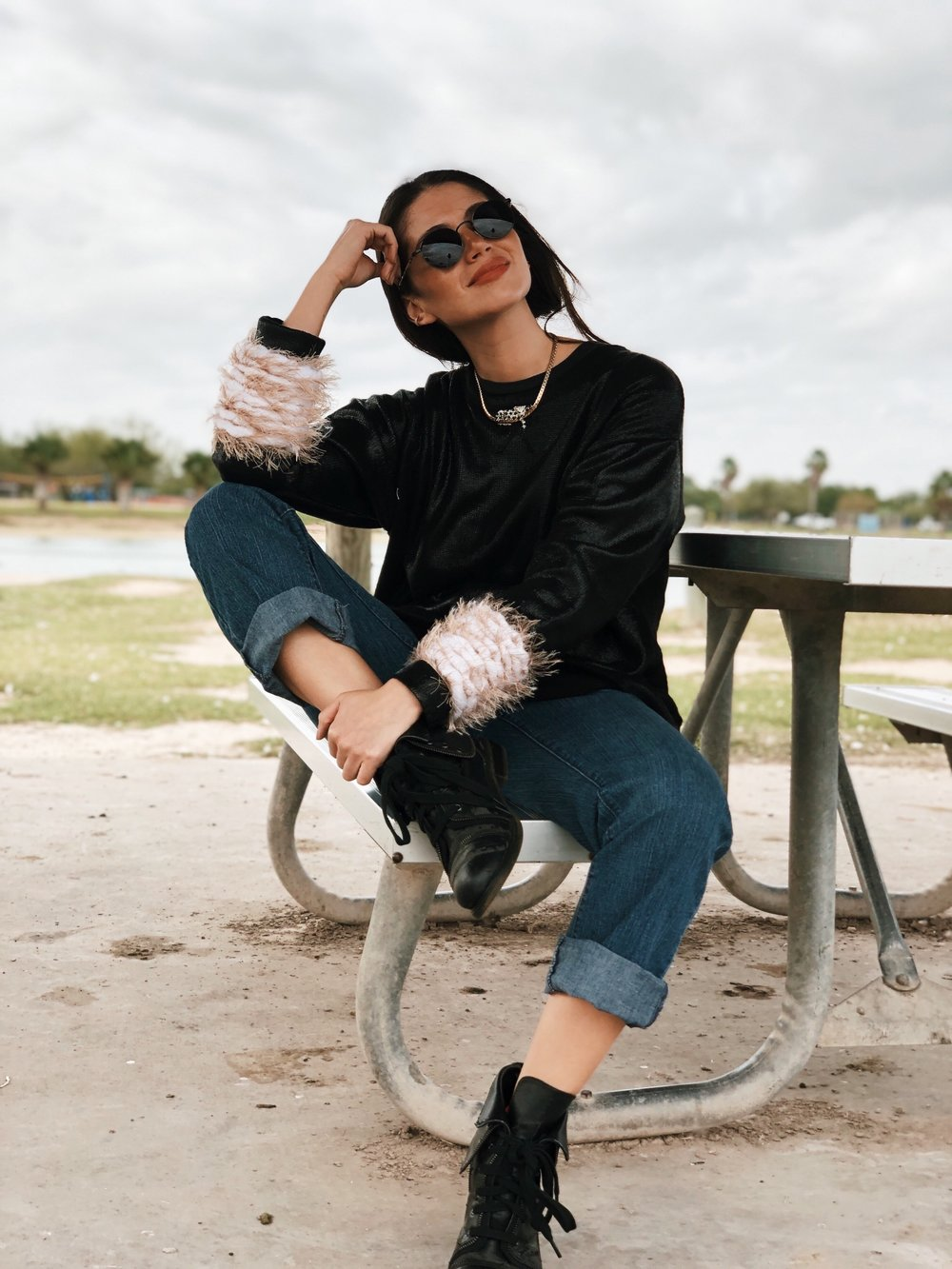 Chic black and denim outfit - A Week Of Cruelty-Free Outfits & Vegan Beauty With Jessica Salazar From All There August on The Good Trade