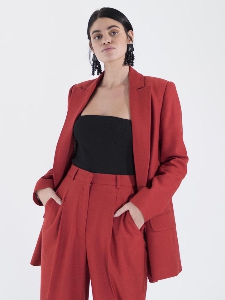 Ethical Blazers For Professional Women - OhSevenDays Friday Suit Red Blazer