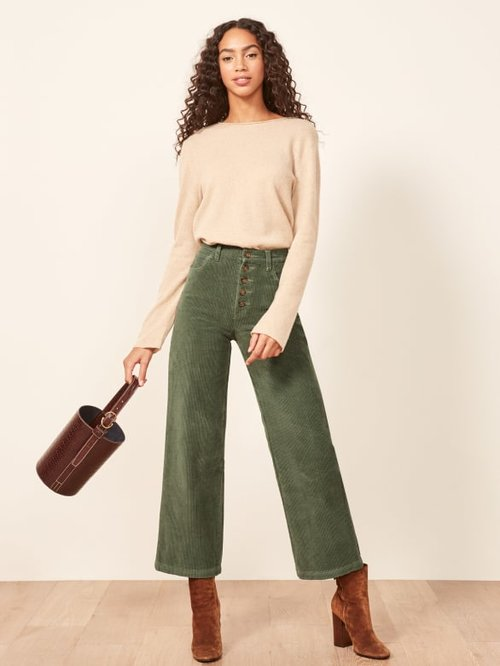 Austin Corduroy Pant in Sage Green by Reformation // Sustainable Corduroys Edit