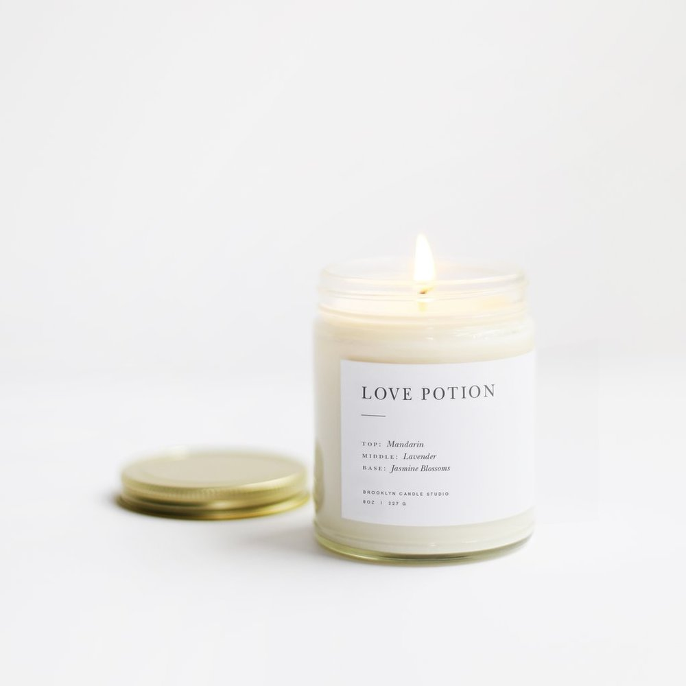 Love Potion Minimalist Candle by Brooklyn Candle Studio // Sustainable Valentine's Day Gift Ideas on The Good Trade