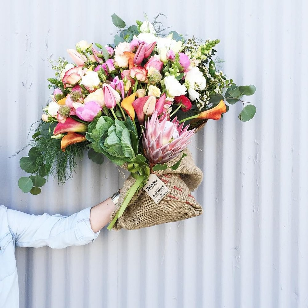 Big Love Burlap Wrapped Bouquet by Farmgirl Flowers // Sustainable Valentine's Day Gift Ideas on The Good Trade