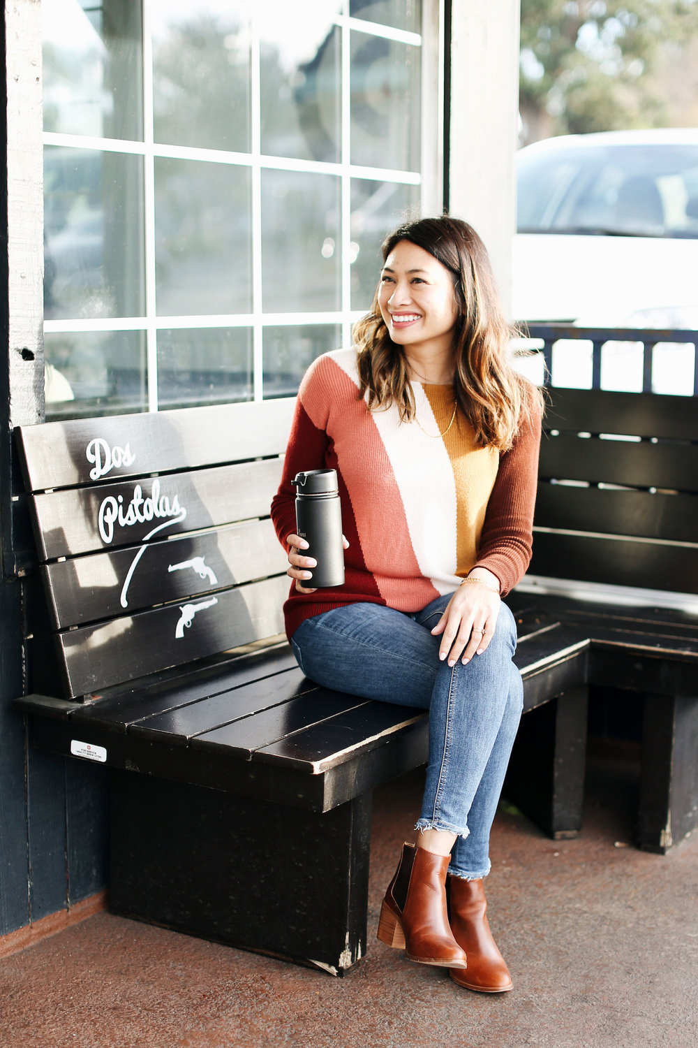 Colorful Sezane jumper | A Week Of Polished & Professional Outfits With Sustainable Lifestyle Blogger Jonilyn Brown on The Good Trade
