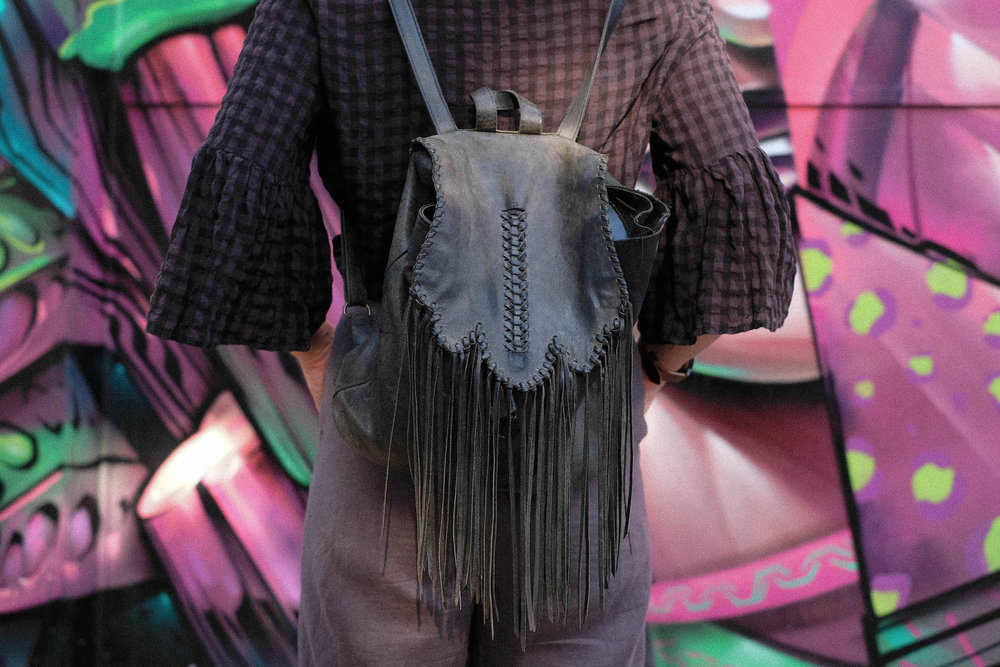 Tassel bag // A Week Of Colorful & Creative Slow Fashion Outfits With Leah Musch From Un-Material Girl on The Good Trade