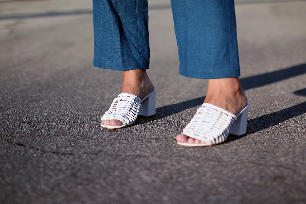 White slide sandals // A Week Of Thoughtful & Modern Outfits With Kat Vargas From Finding Katnis on The Good Trade