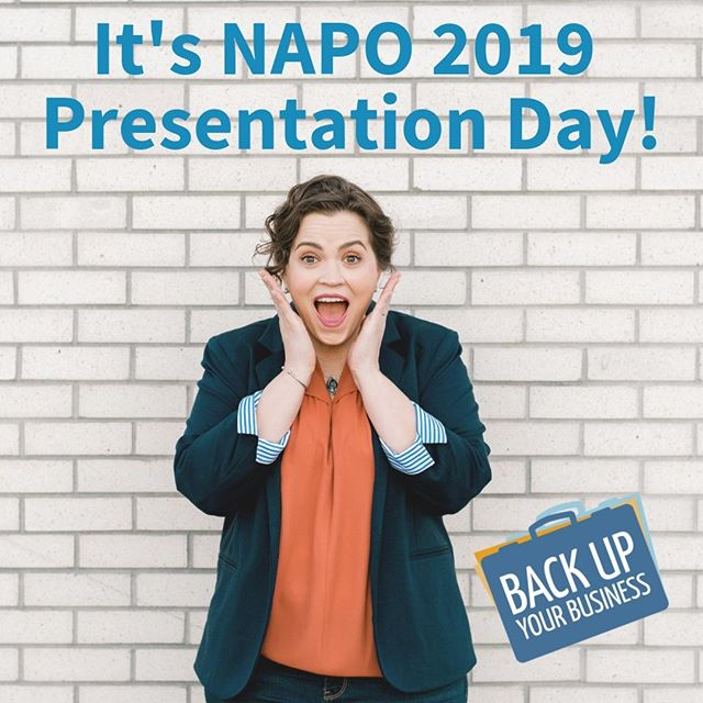 It's the day of the show, y'all! 🎭 . I am ecstatic and gearing up to present this afternoon at the NAPO (National Association of Productivity and Organizing Professionals) Annual Conference in Fort Worth. . Many many hours have gone into preparation, so I hope you'll join me to have a most EXCELLENT time! . Session 2-4 at 1:30pm, TODAY! . Back Up Your Business: Is it Ready for Anything? . We promise actionable steps, and leaving the room with some implementation already completed! . **Bring your 💻or📱for our Implementation time.** . Link for more session information in bio. . Will I see you there? Let me know in the comments! . #napo #napo2019 #fortworth #tx #educationisbiggerintexas #educationisbiggerintx #conference #presentation #professionalorganizer #professionalorganizers #productivity #organizing #productivityconsultant #smallbusiness #conferencepresenter #naponc #education #lifelonglearner