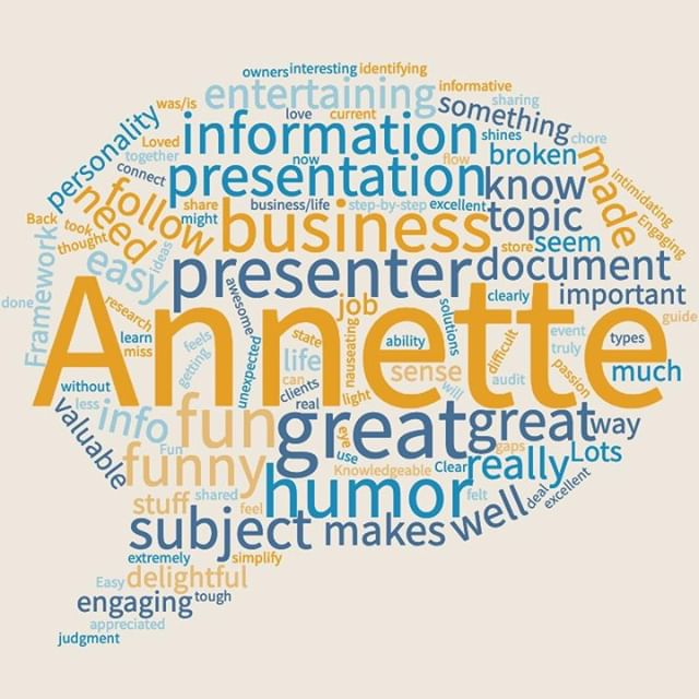 "The reviews are in!⁣ .⁣ This word cloud that distills the feedback taken from the attendees at my conference session at NAPO2019 just 10 days ago.⁣ .⁣ Registration is now OPEN if you'd like to lean how to Back Up Your Business, and make sure it's ready for ANYTHING with a local seminar I'm holding in RTP.⁣ .⁣ Bonus? It's free! ⁣ .⁣ Hope you can attend on Friday, May 3rd from 12-1pm at The Frontier.⁣ .⁣ Register here: https://backupyourlife.as.me/buybisitreadyforanything⁣ .⁣ What else they're saying about this topic (not distilled!):⁣ .⁣ ""Annette presents an important topic in a fun, upbeat way and makes and overwhelming chore seem manageable.""⁣ .⁣ ""I'm delighted you've brought together all this info we need to document. What had felt overwhelming now feels doable. It will feel great to accomplish it!""⁣ .⁣ ""Annette's presentation was super informative. She made backing up fun. Her ideas seem doable to implement. And bonus: Annette is engaging and funny!""⁣ .⁣ #backupyourlife #backupyourbusiness #napo #annetteadamska #wordcloud #testimonials #isitreadyforanything #education #thefrontier #seminar #workshop"