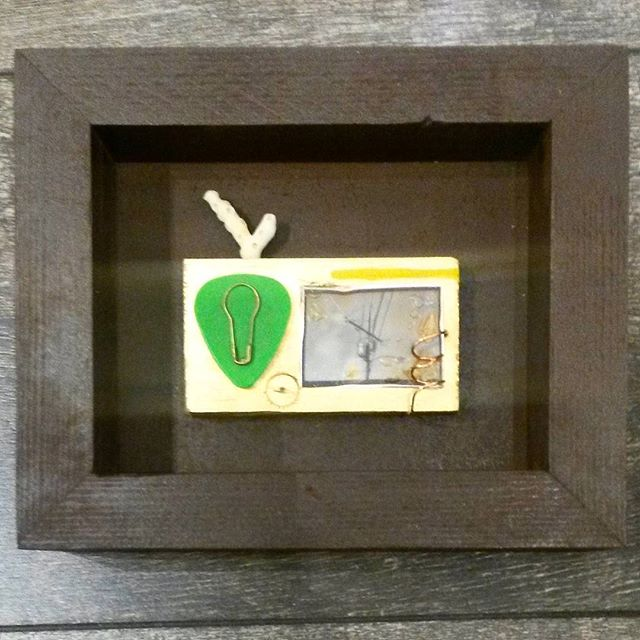 """Bouys & Barnicals"" - this tiny piece is for sale at @thethresholdart for $30!! It's looking for a good home and it has some brothers and sisters that would love to go with it 😉 . . . #nomadfineart #wallart #originalart #makeart #junkart #junkdada #thethresholdartgallery #redlands #assemblageart #tinyart #upcycledart #upcycled #recycledart #repurposed"