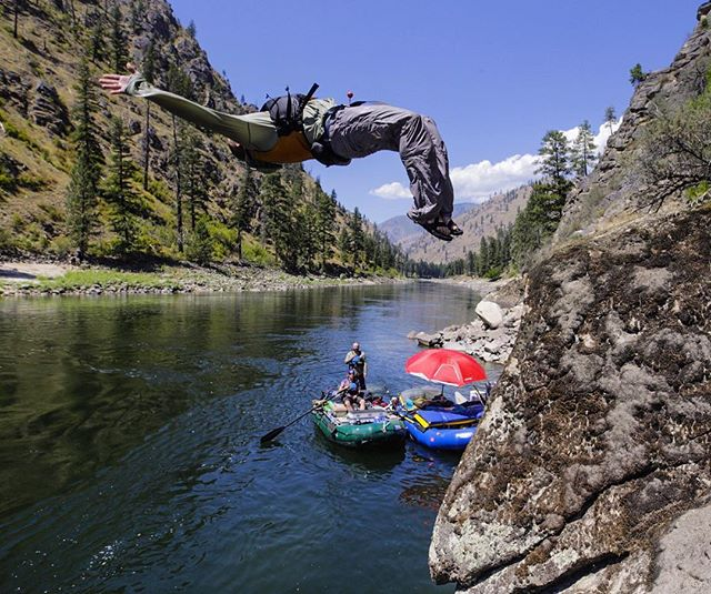 John Marinucci chucking into the #MainSalmon river last week.  #longlivesummer #theupsidedown #riverlife #wildandscenic #rafting #lotterywinners @nucsci