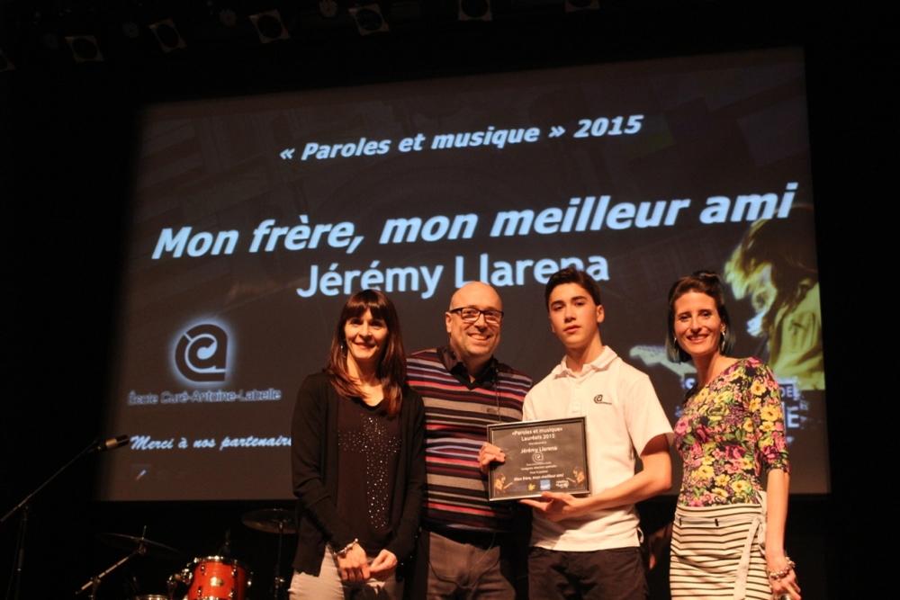 Catégorie Mention spéciale: Jérémy Llarena auteur du texte Mon frère, mon meilleur ami