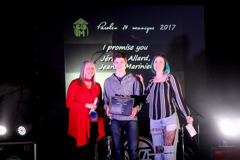 Catégorie Mérite: Jérémy Allard et Jeanne Marinier auteurs du texte I promise you
