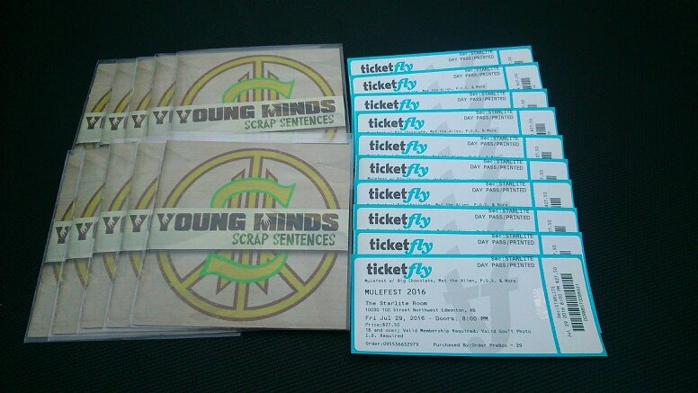 YOUNG MINDS CD PROMO WITH MULEFEST TICKETS.jpg
