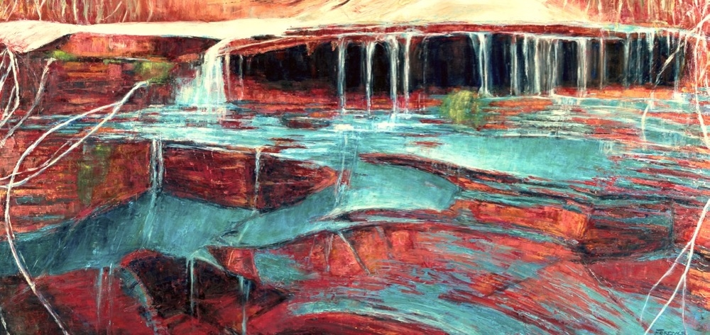 "Fractured Droplets 24""X48"" oil on canvas, part of the Colorado River Project"