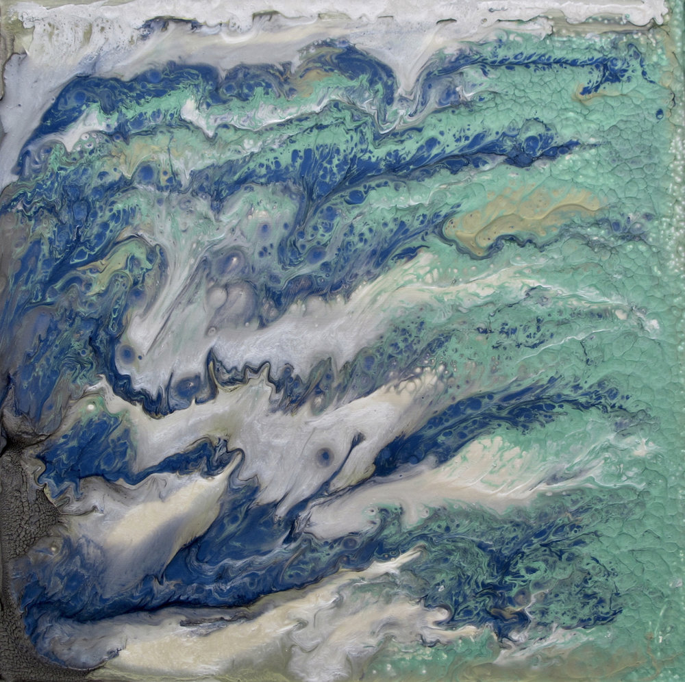 Jan Fordyce, Water Waves, 16x16 mixed media.jpg