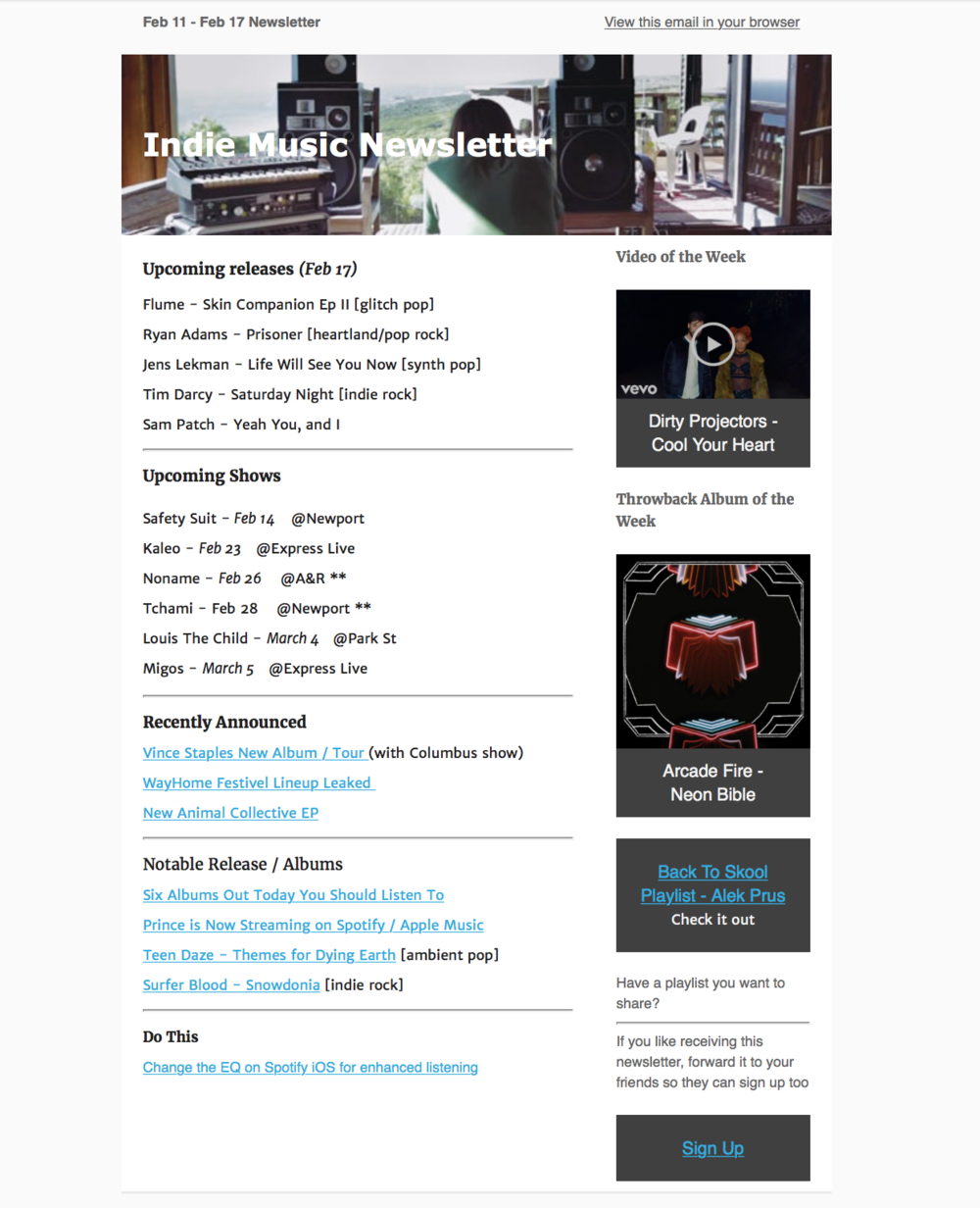 An example of the weekly newsletter