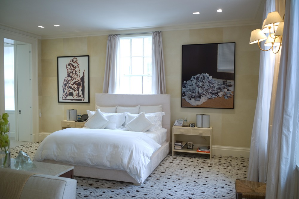 Parchment walls in master bedroom