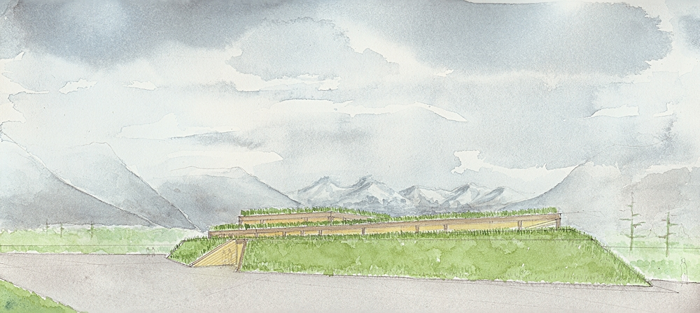 Watercolor showing the Three Mile Glacier in the distance - the structure is heavy timber, and the roof is planted with local tundra and wildflowers