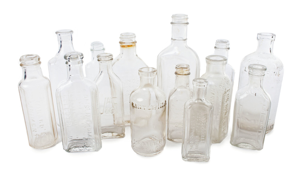 Clear mini medicinal bottles