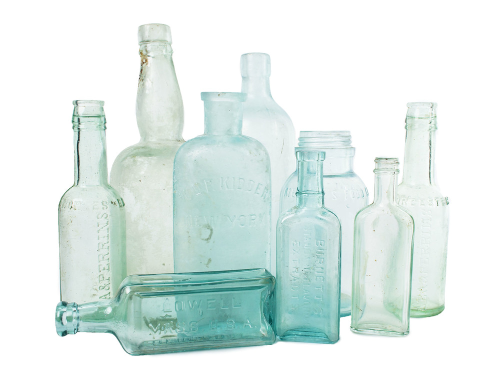 Assorted blue bottles