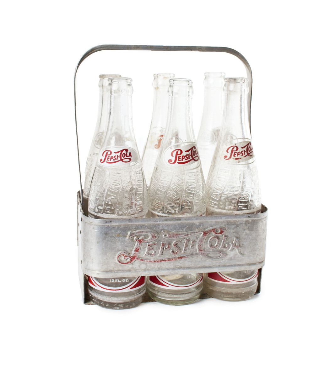 Metal Pepsi carrier w/ 6 bottles