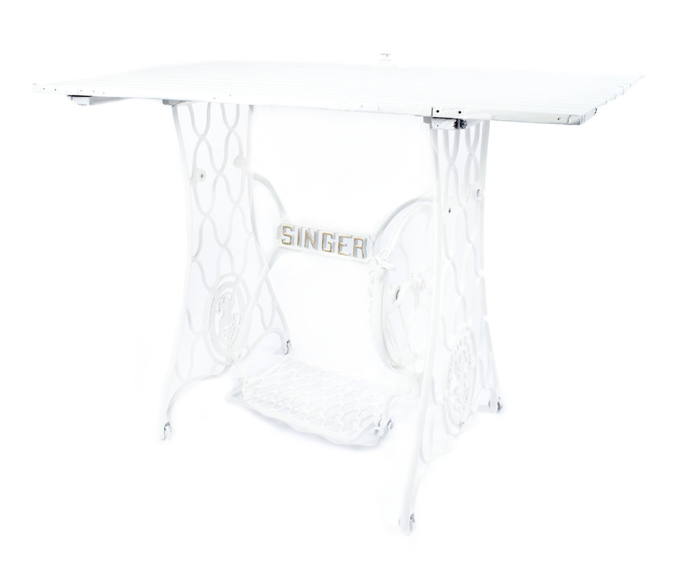 'Upcycled' White-Singer Sewing Machine Table