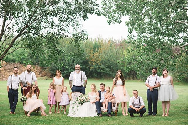The suspenders, the tulle skirts, the kids, and the furniture (of course 😉). Everything. I literally love everything about this photo of the bridal party for S&Ms wedding captured by @kristynharderphotography