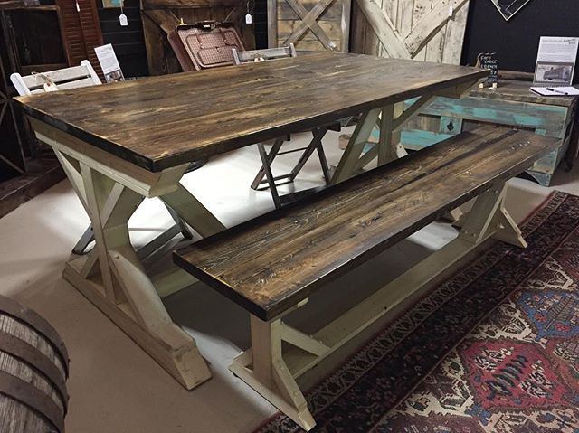 Another beautiful custom farm table from 'Paris Farmhouse Furniture' was brought in this week! These tables can be custom made to suit your size as well as stain! #locallymade #airdrie #farmtable